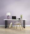 Elegant light purple home office interior with armchair - 72302072