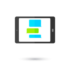 Communication tablet icon with chat bubbles