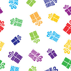 Seamless vector Gift pattern, boxes on white background.