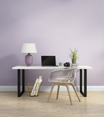 Elegant light purple home office interior with armchair