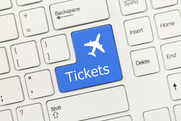 White conceptual keyboard - Tickets (blue key with aeroplane sym
