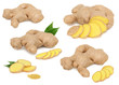 Set whole and sliced ginger with green leaves (isolated)
