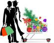 Coppia con carrello natalizio