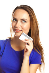 Attractive Young Woman with Credit Card
