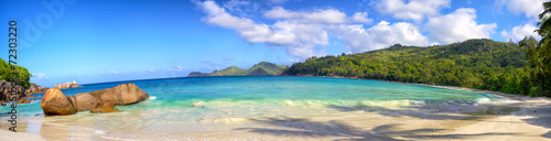 Seychelles coastline panorama with typical granite rocks - 72303220