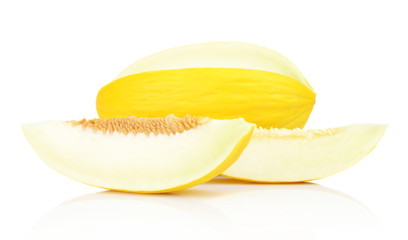 Studio shot of sliced Canary melon isolated white