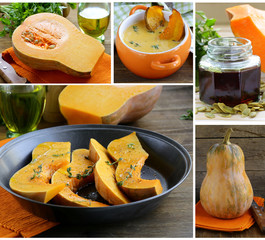 collage menu pumpkin dishes (soup, oil, baked)