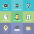 Creative web development flat icons set