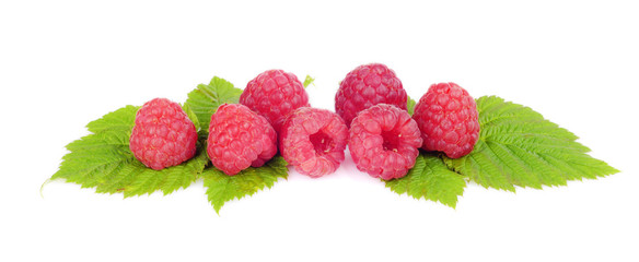 Horizontal view raspberries with leaves isolated white