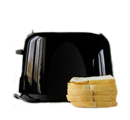 modern black toaster with fresh bread on a white background