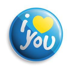 I love u button. Vector illustration.
