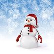 3d happy snowman with santa hat on snowflakes background