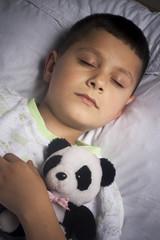 Cute boy asleep with bear