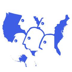 USA map e persone
