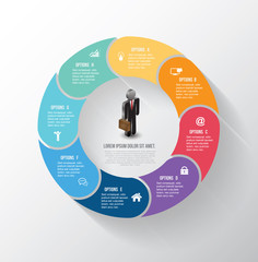 Vector circle info-graphic step with business man