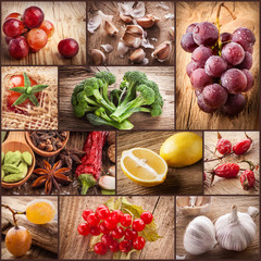 Fruit and vegetables on wooden background