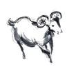 羊(山羊)の墨絵