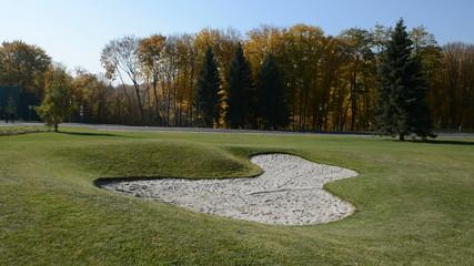 Panning of golf course in Mezhigirya, Ukraine