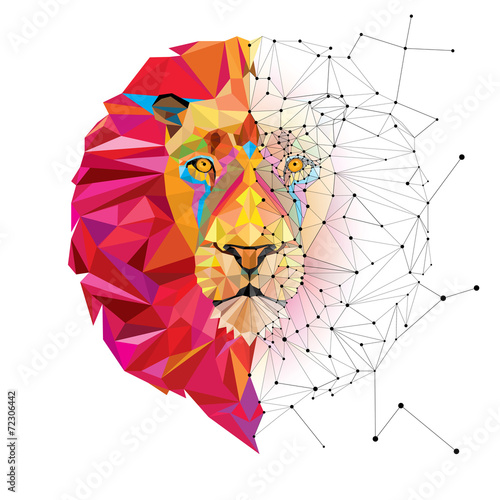 Lion head in geometric pattern with star line vector - 72306442