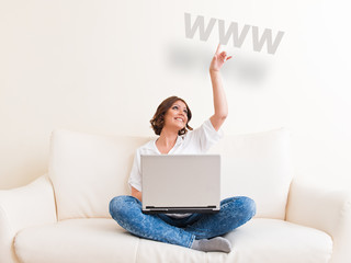 Woman using the internet concept