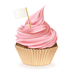 Pink Icing Cupcake With A Flag