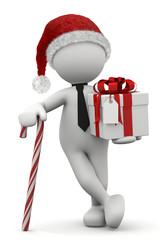 omino bianco Natale con bastoncino zuccherato e regalo