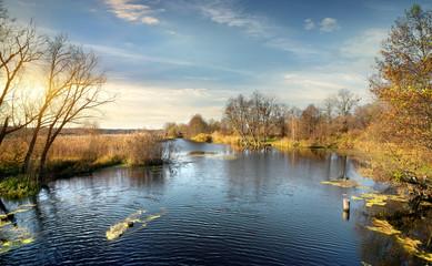 Ripple on the autumn river