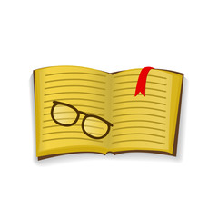 Icon of knowledge in the form of books with glasses.