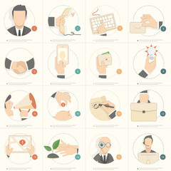 Set of Business flat design concept icons for templates