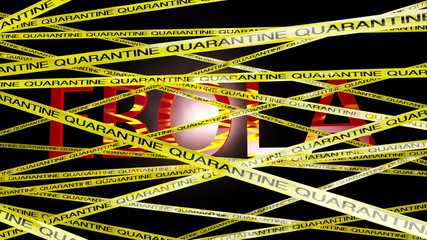 Ebola Behind Caution Yellow Quarantine Ribbon Signs 3D animation