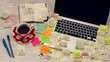 Office desk covered by post it papers - timelapse HD