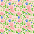 Seamless wallpaper pattern with roses. Vector
