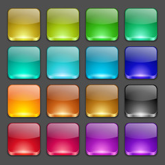 Colorful square glossy buttons