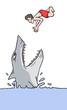 Danger shark vector scene