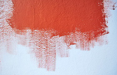 Test painting the blue wall with red color