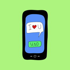 Doodle style phone with love message