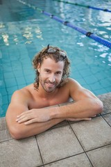Portrait of a fit swimmer in the pool