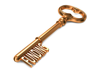 Funding - Golden Key on White Background.