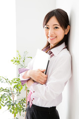 portrait of asian businesswoman relaxing