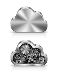 Metal cloud icon with machine parts inside.
