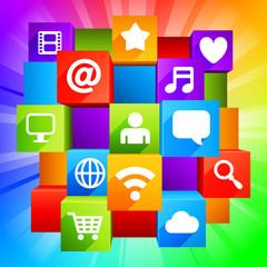 Media symbols on colorful background.