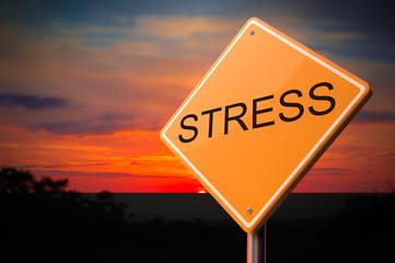 Stress Inscription on Warning Road Sign.
