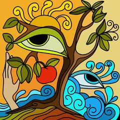 abstract illustration with apple tree and Mother Nature