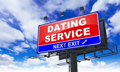 Dating Service Inscription on Red Billboard.