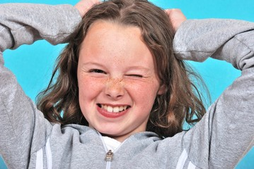 Girl pulling her hair