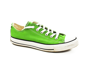 Vintage green shoe. Isolated on white background