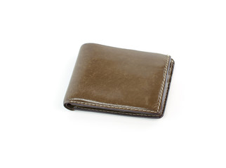 leather wallet brown leather isolated on white background