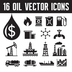 16 oil vector icons for infographic and  presentation