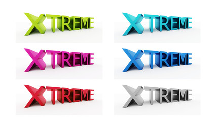 Extreem text on many color set isolated on white