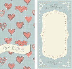 set of invitation cards with doodle hearts on vintage colors